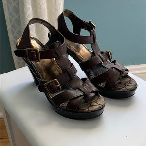 Coach Platform Leather Sandals